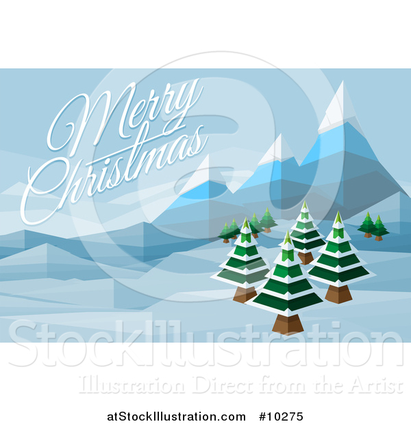 Vector Illustration of a Merry Christmas Greeting over a Geometric.