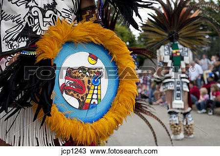 Stock Photo of Aztec Indian Dancers performing an Indian dance.