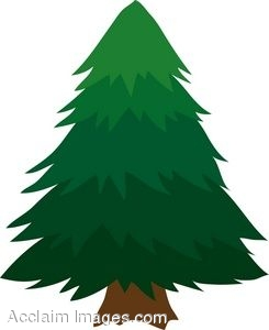 Clipart of a Cartoon PineTree.