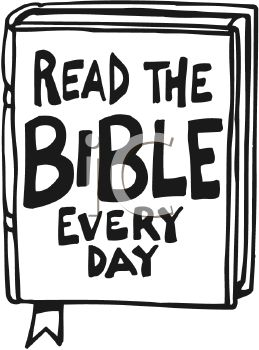 """Read The Bible Every Day"""" Text on a Bible."""