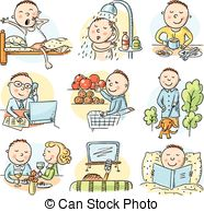 Clip Art Of Daily Activities Clipart.
