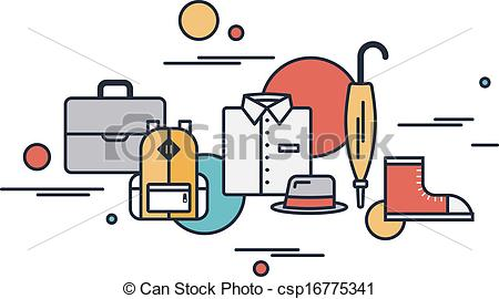 EPS Vector of Outline clothing and everyday objects.