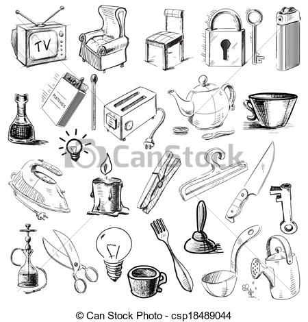 EPS Vector of Household home objects collection.