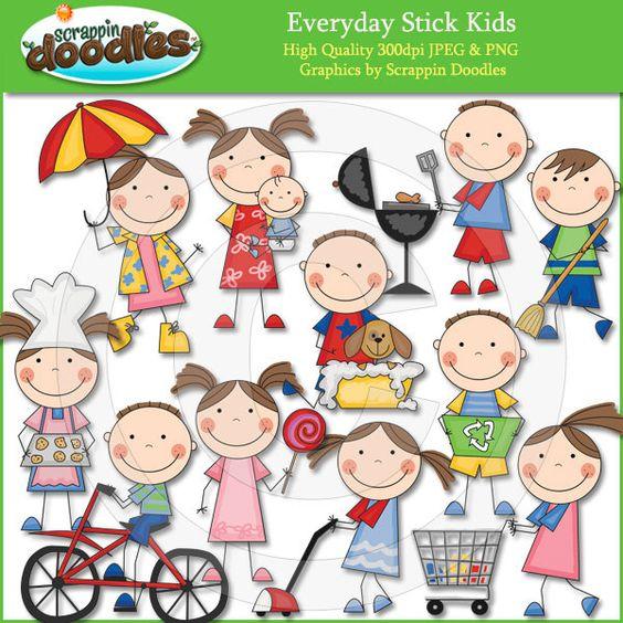 Everyday Stick Kids Clip Art.