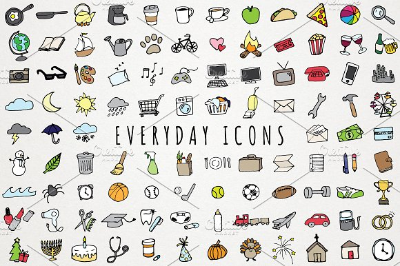 Everyday Items & To Do Clipart Set ~ Icons on Creative Market.