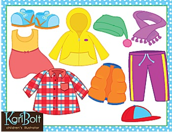 Clothes and Seasonal and Everyday Clothes Bundle Clip Art.