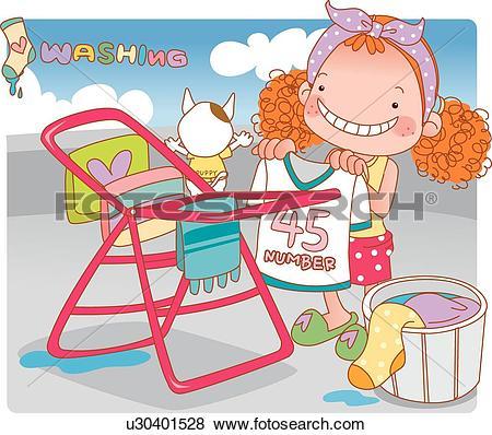 Stock Illustration of Girl, Child, kids, kid, children, pet dog.