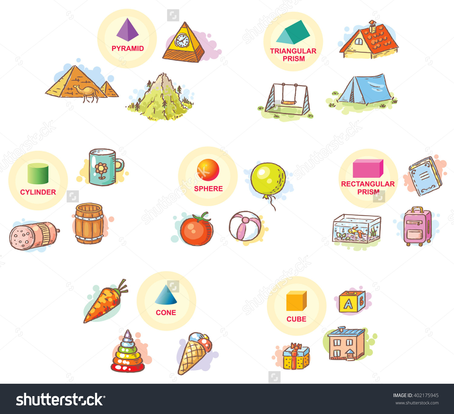3d Shapes Example Objects Everyday Life Stock Vector 402175945.