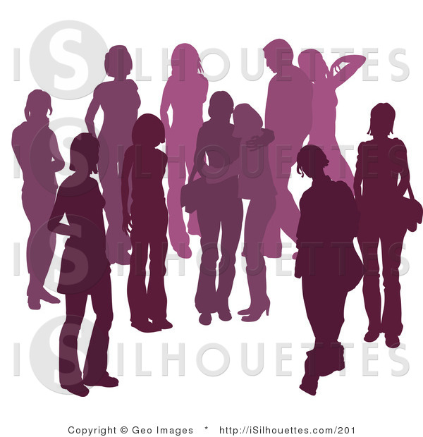 Silhouette Clipart of a Purple Group of Silhouetted People Hanging.