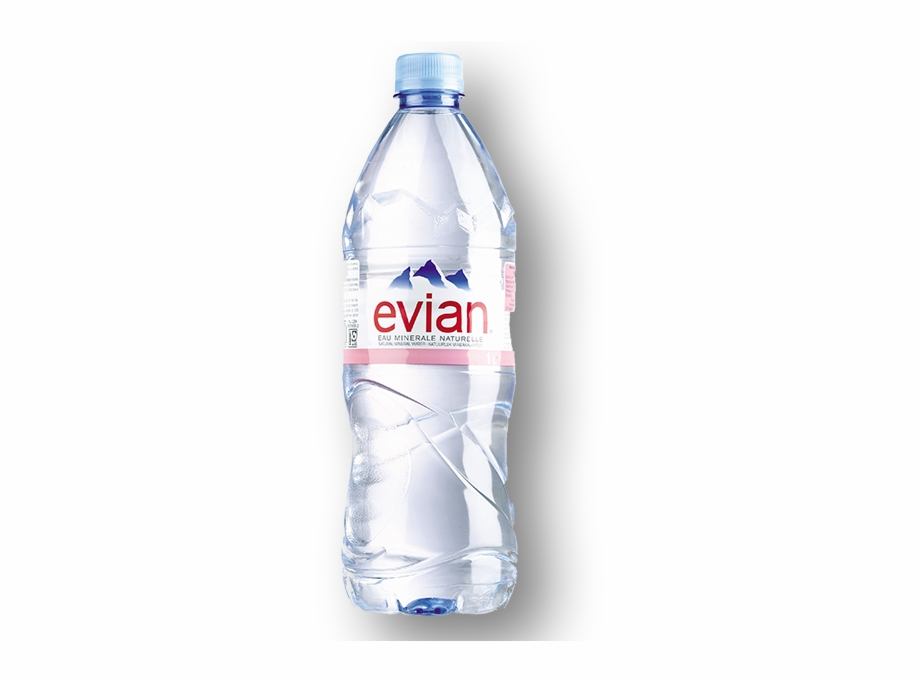 Evian Natural Mineral Water.