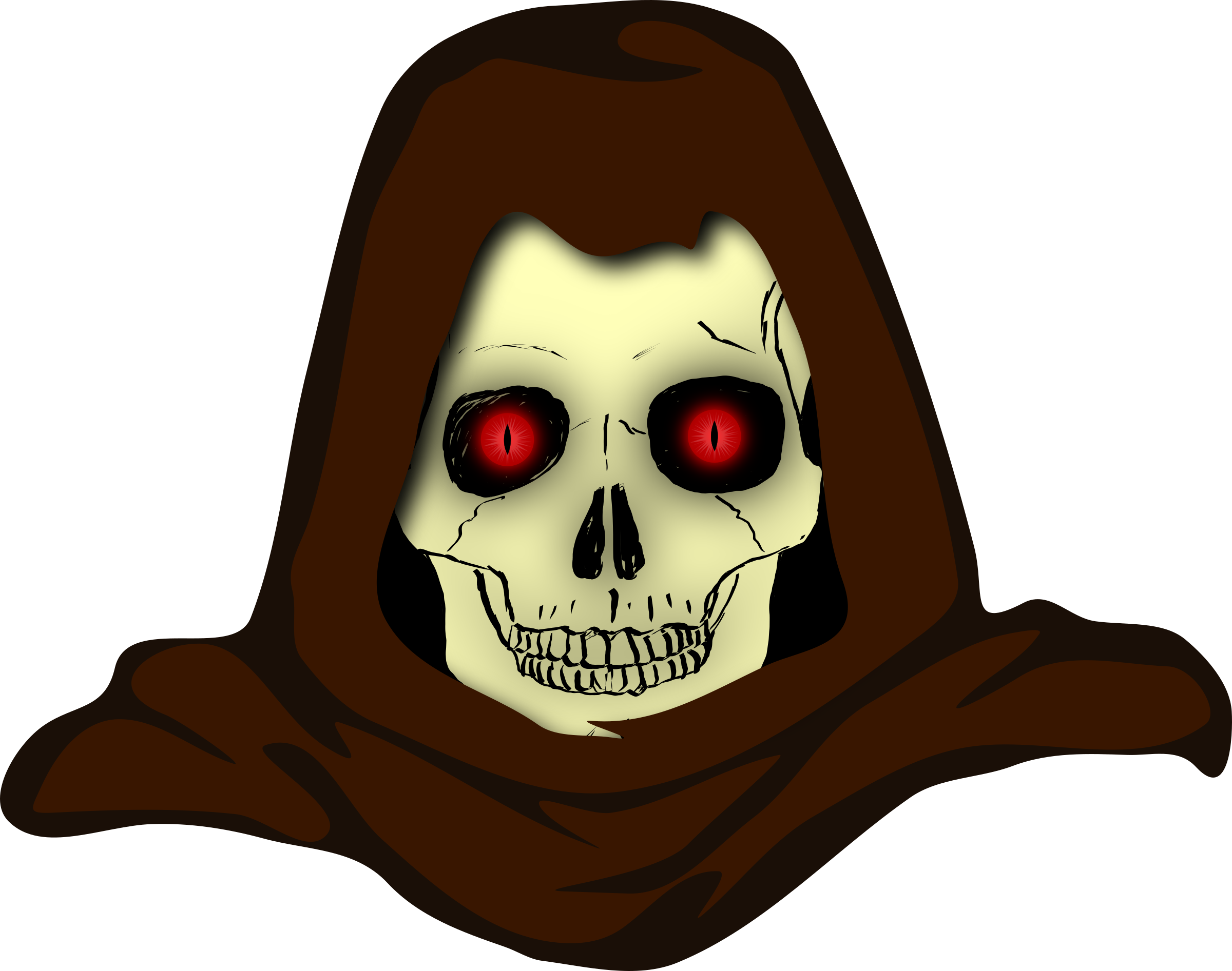 Evil Hooded Skull vector clipart image.