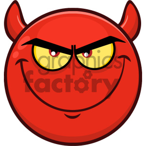 Royalty Free RF Clipart Illustration Smiling Red Cartoon Smiley Face  Character With Evil Expressions Vector Illustration Isolated On White  Background.