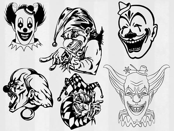 Scary Clown SVG, clown Clipart, (.svg, .dxf, .png) killer klown, killer  clown, vector, evil clown, clown clip art, scary clown clip art.