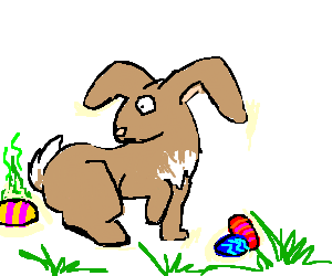 Evil Easter Bunny leaves rotten eggs!.