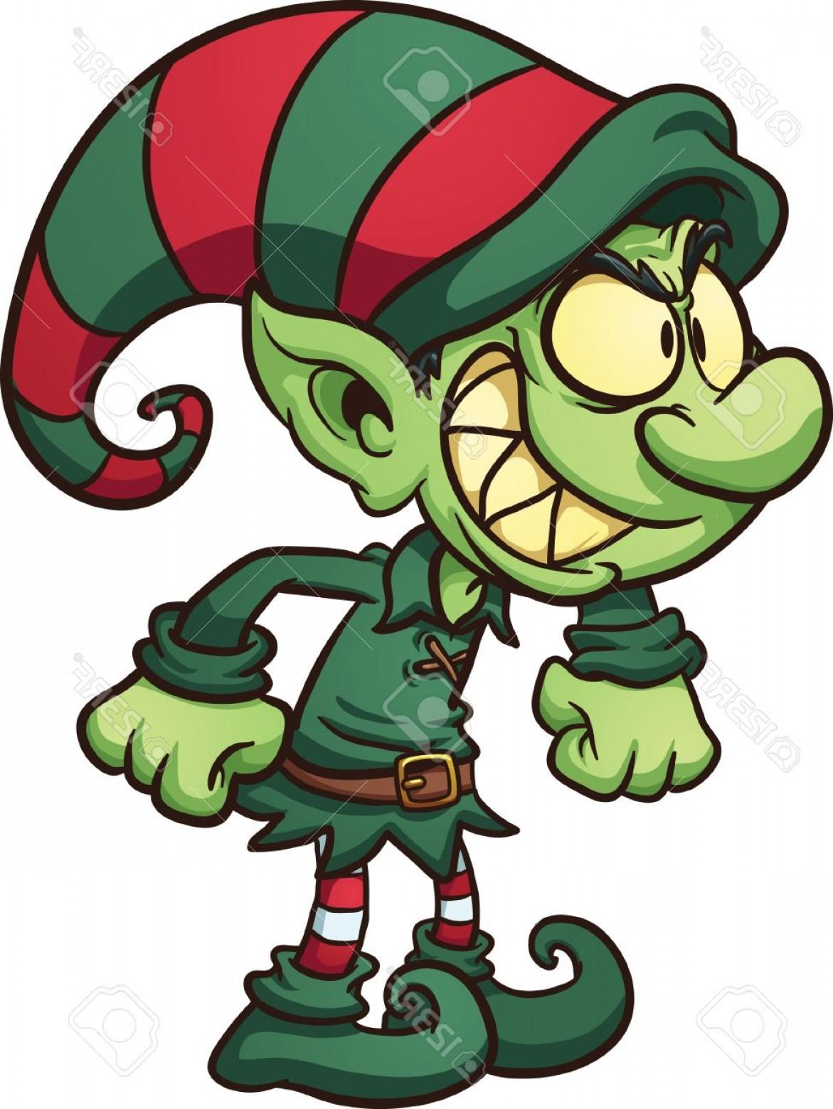 Photostock Vector Evil Christmas Elf Vector Clip Art.