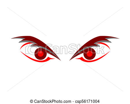 Angry evil eyes graphic.