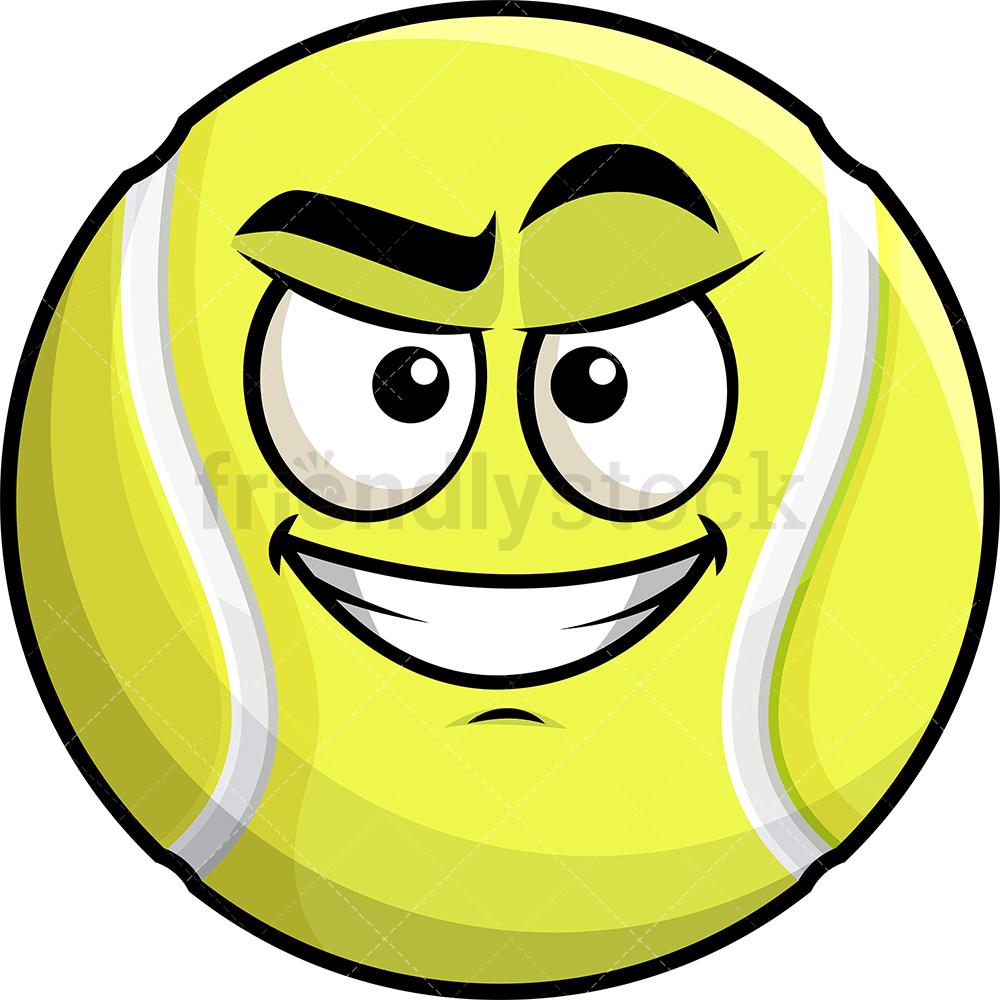 Cunning Evil Face Tennis Ball Emoji.