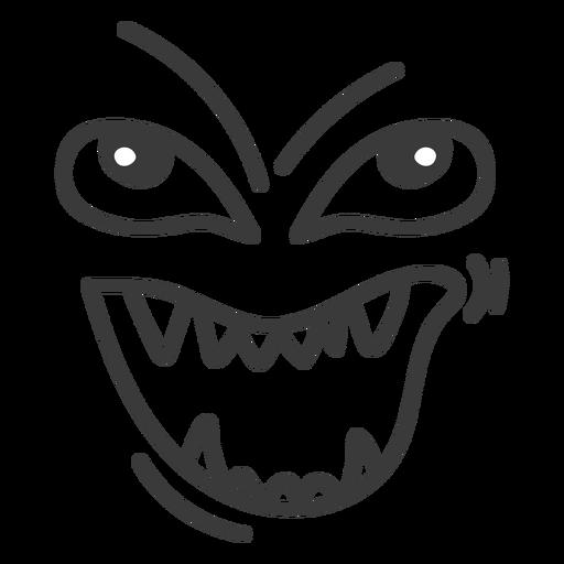 Evil emoticon face cartoon.