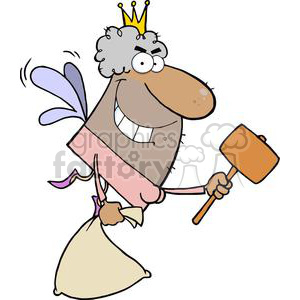 African American Tooth Fairy Has An Evil Grin Flying With A Mallet And Bag  clipart. Royalty.
