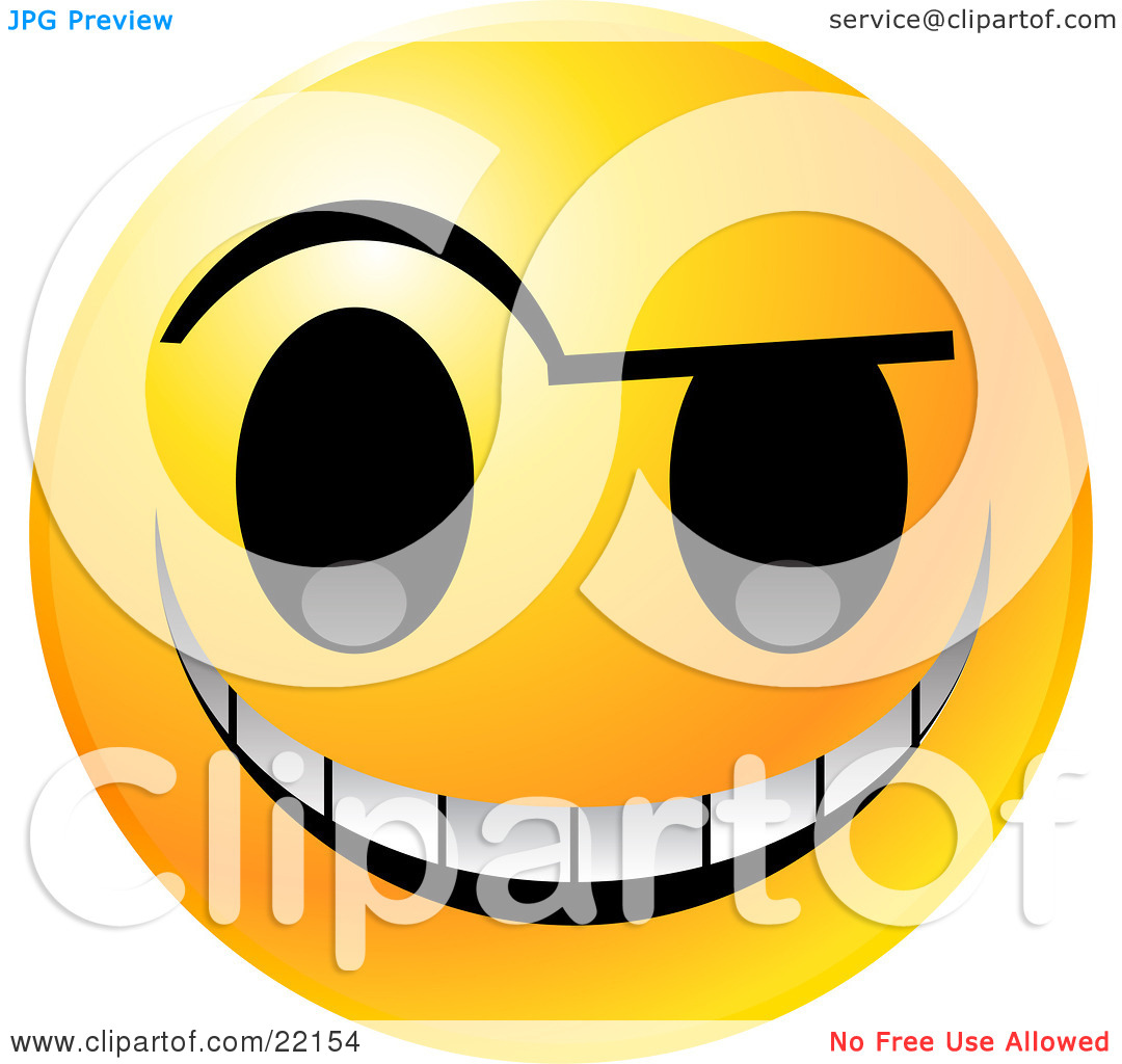 Free Evil Smiley Face Grinning Clip Art Illustration.