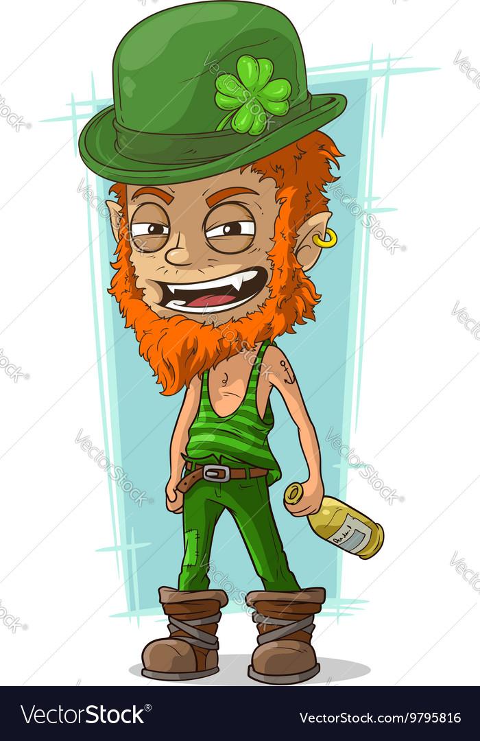 Cartoon evil drunk leprechaun with bottle vector image.