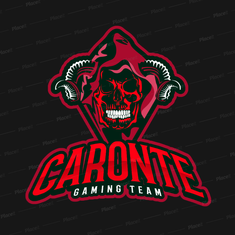 Gaming Logo Template Featuring an Evil Horned Skull Clipart 383q 2290.