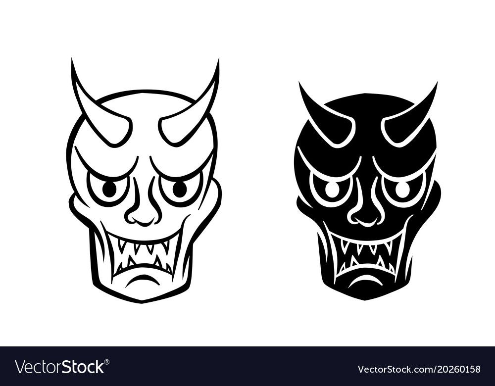 Hanya mask evil ghost face in logo and icon.