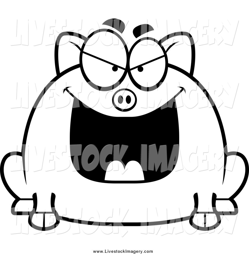 Clip Art of a Black and White Chubby Evil Pig Grinning by.