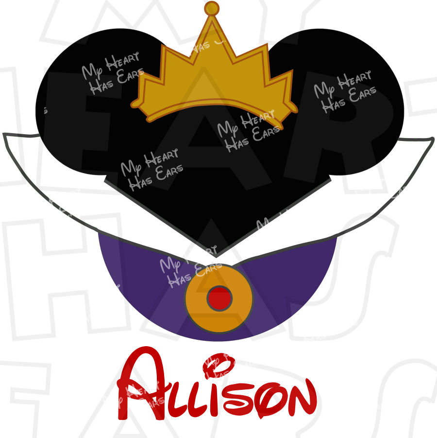 Evil queen from Snow White Mickey Mouse Head INSTANT DOWNLOAD.
