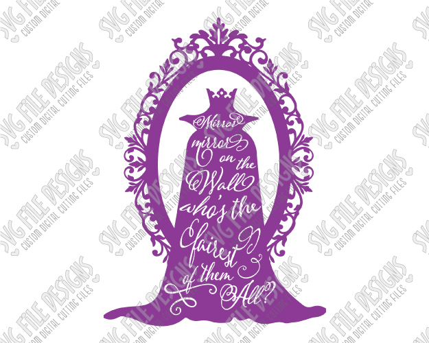 White Evil Queen Silhouette Disney Word Art SVG Cut File Set.