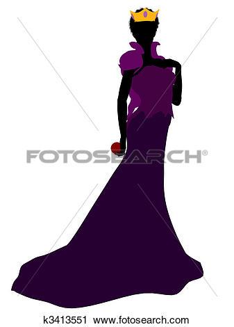 Clipart of Evil Queen Silhouette Illustration k3413551.