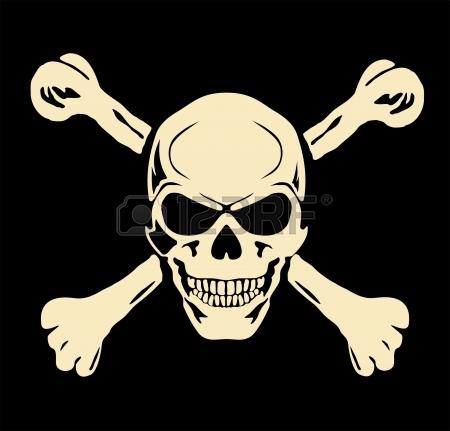Vector Evil Skull With Bones Warning Sign Royalty Free Cliparts.