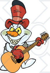 Clipart of a Cartoon Evil Snowman Playing a Wooden Acoustic.