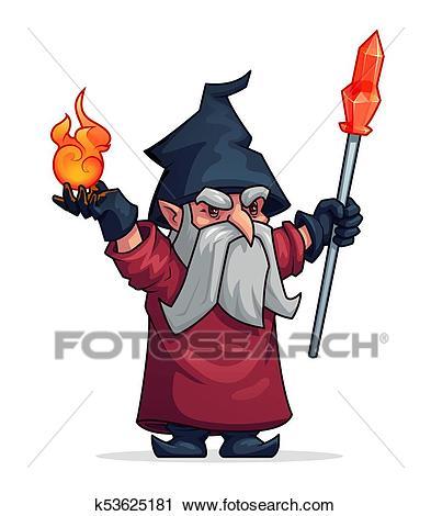 Vector cartoon evil wizard or bad magician icon Clipart.