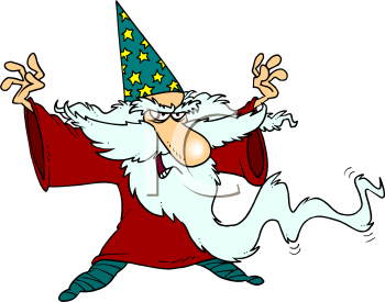 Cartoon of an Evil Wizard Casting a Spell.