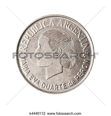 Stock Photo of Argentinian coin with face of Evita. k4440113.