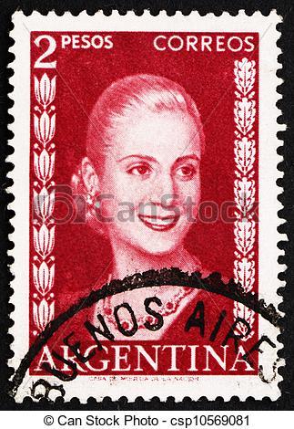 Pictures of Postage stamp Argentina 1953 Eva Peron, Evita.
