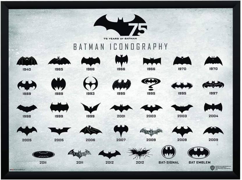 Batman Logo Evolution Poster A4 Frame Paper Print.