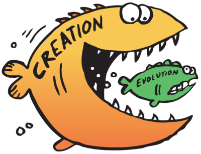 Evolution versus Creation Clip Art.