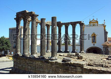 Stock Photography of Roman temple, Evora, Portugal k15934160.