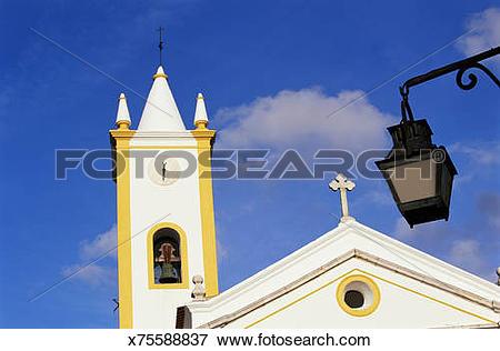 Picture of Portugal, Alentejo, Evora, church exterior, low angle.