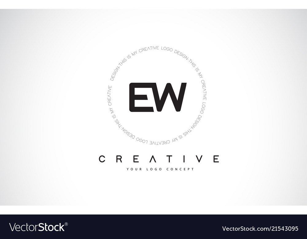 Ew e w logo design with black and white creative.