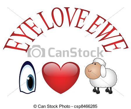 Clipart Vector of I love You.