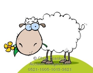 Clipart Image of A Flower In the Mouth of a Wooly Sheep.