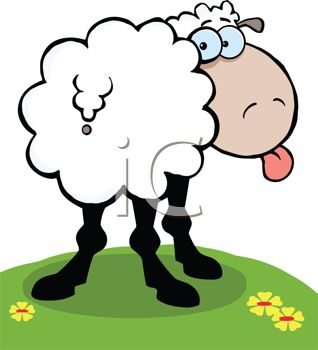 Clip Art Illustration of a Sheep Standing In the Grass Sticking.