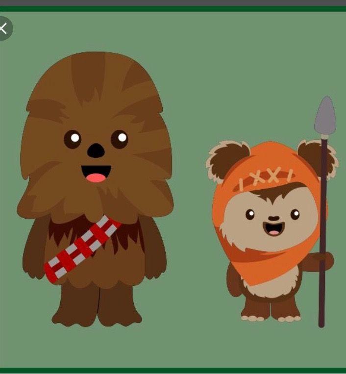 Cute Chewbacca and Ewok emoji from Internet.