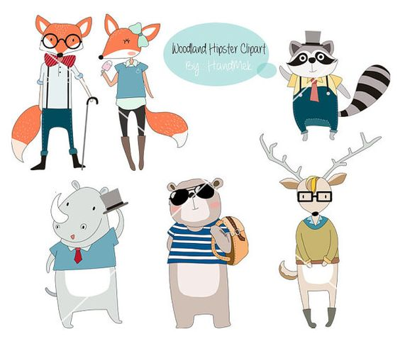 Exaggerated animal clipart.