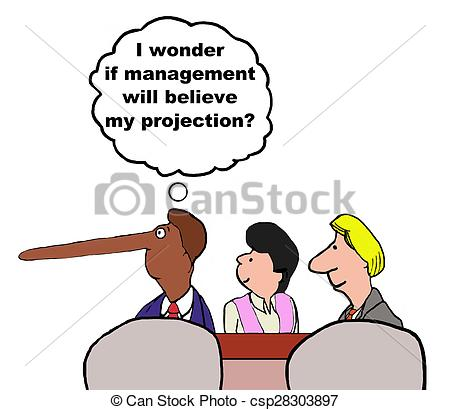 Stock Illustration of Exaggerated Projections.