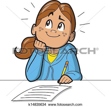 Clipart of Pupils and Difficult Test Exam k10282584.