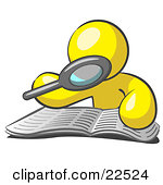 Clipart Illustration of a Yellow Man Using A Magnifying Glass To.
